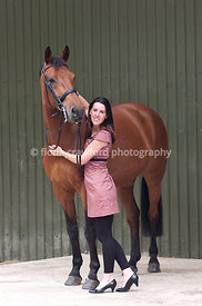 Bay horse with young lady