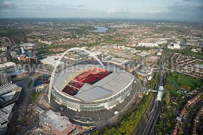 Aerial view of Wembley Stadium, London