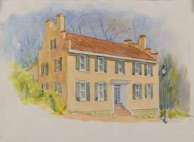 Doctor William H. Pitts House, original watercolor illustration, 17 x 21