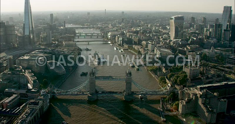 London Aerial Footage of River Thames at Tower Bridge with Tower of London.