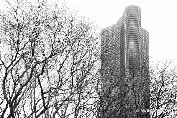 LAKE POINT TOWER WINTER CHICAGO ILLINOIS BLACK AND WHITE