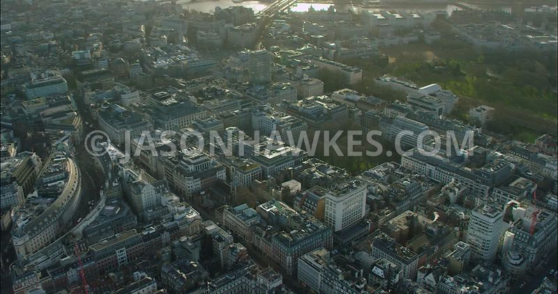 London Aerial Footage of Piccadilly and Piccadilly Circus.