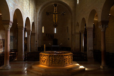 Italy - Verona - The Romanesque octagonal baptismal font in the Duomo