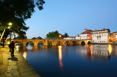 The roman bridge of Chaves, also known as Trajan bridge, dating back to the 1st century AD. Trás-os-Montes, Portugal (MR)