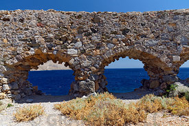 Brouzi Fortress, the remains of a Roman era fortification, Aghia marina, Leros Island, Dodecanese Islands, Greece.