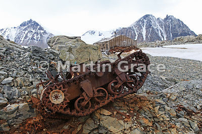 Caterpillar-tracked vehicle at East Base (1939-1941, 1947-1948) of the United States Antarctic Service on Stonington Island, Marguerite Bay, Antarctica