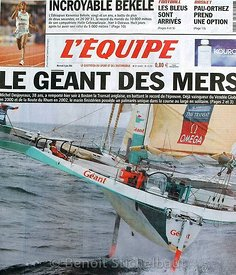 SAILING - COVERS COLLECTION - QUOTIDIEN L'EQUIPE / 09/06/2004- PHOTO : BENOIT STICHELBAUT / DPPI.THE TRANSAT 2004 - GEANT / SKIPPER : MICHEL DESJOYEAUX (FRA)