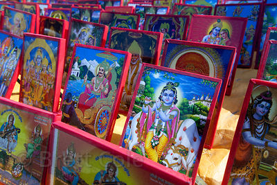 Paintings of idols for sale at the 2013 Kumbh Mela, Allahabad, India.