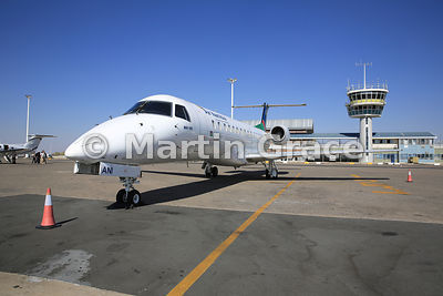 Air Namibia Embraer ERJ 135 (V5-ANI) aircraft on the apron at Hosea Kutako International Airport, Windhoek, Namibia