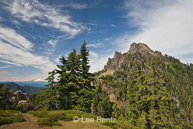 Mt. Forgotten with Glacier Peak in the distance viewed from Mt. Forgotten Meadows, Mt. Baker-Snoqualmie National Forest, Cascade Mountains, Washington, USA, August, 2008_WA_4603