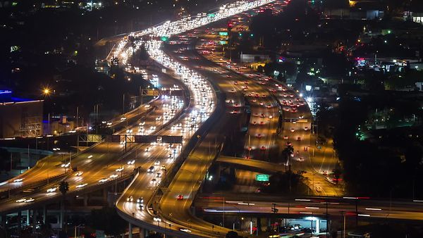 Close Up: Red & White Lights Of An Arterial Freeway Junction At Night