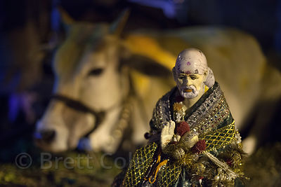 Sai Baba statue and cow, Kolkata, India.