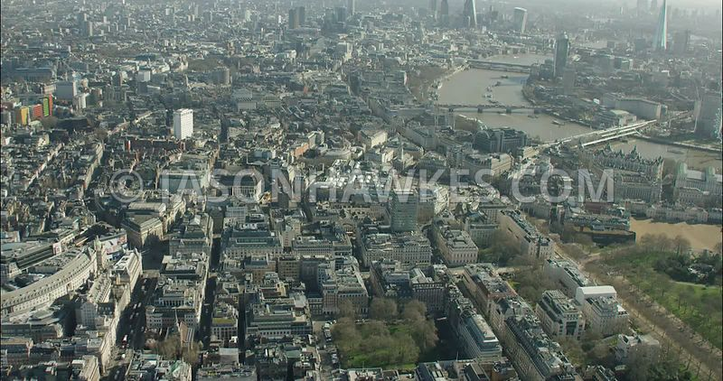 London Aerial Footage St James's towards River Thames and London Eye.