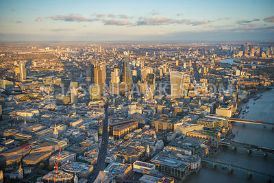 Aerial view of Bank and the City of London.