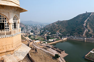 View of the town of Amber from Amber Fort, Jaipur, Rajasthan, India
