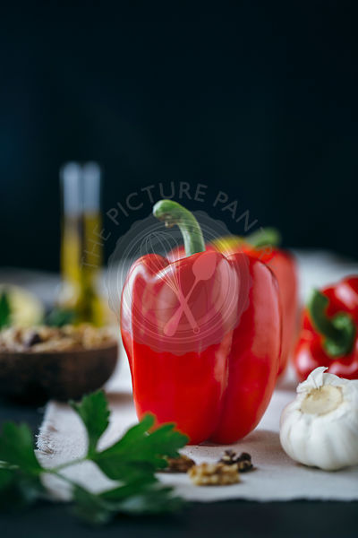 Ingredients for Roasted Red Pepper and Walnut Dip