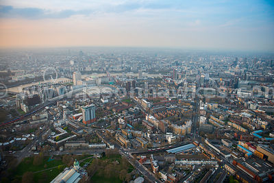 Aerial view of Lambeth at dusk, London