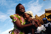 Ghana - Tamale - Agnes Chiravera hugs a street child