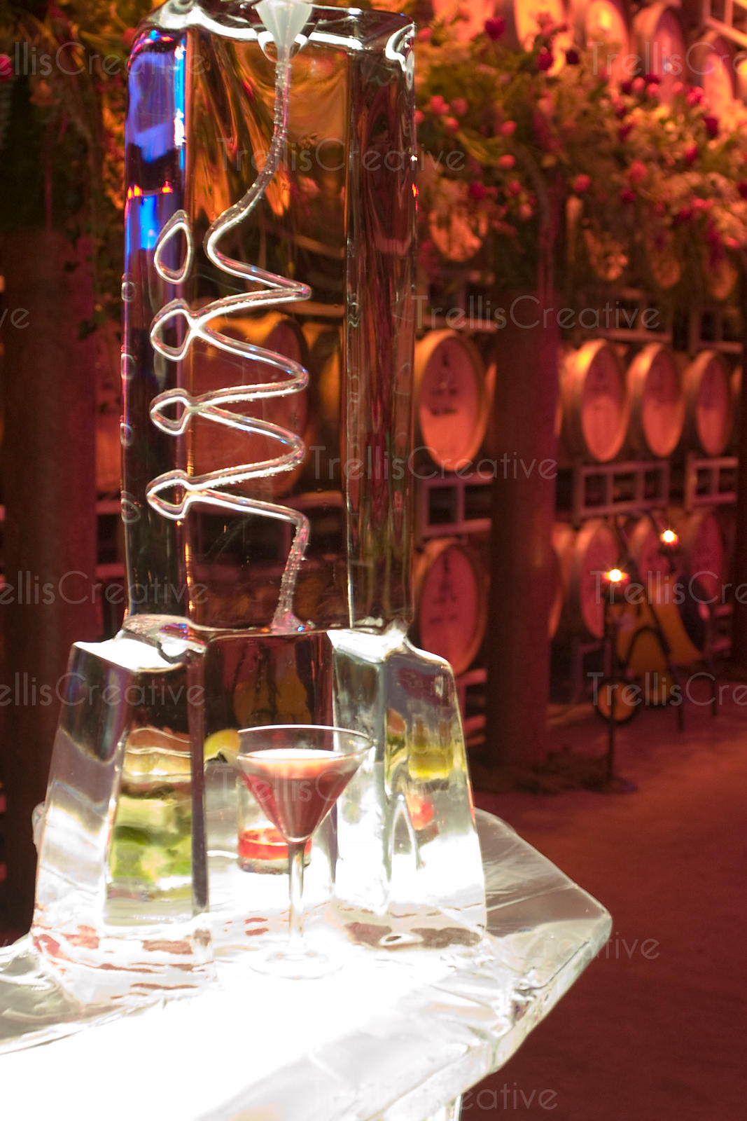 Martini in glass under ice sculpture