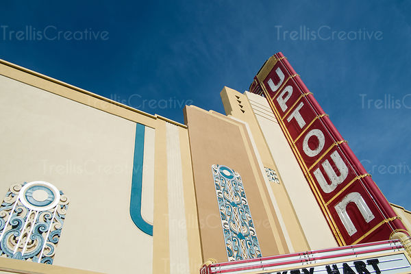 Detail of the Uptown Theater in Napa, California with its art deco marquee