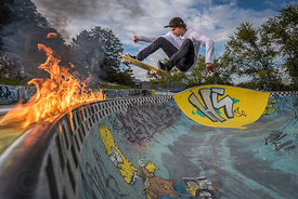 Fire skateboarding with Tom Lafait