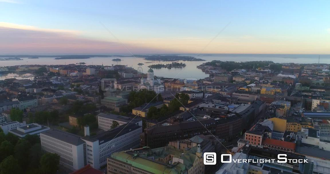 Sunrise in a City, Aerial Sideway View of Helsinki South Harbour and the Cathedral, on a Sunny Summer Morning Dawn, in Helsingfors, Uusimaa, Finland