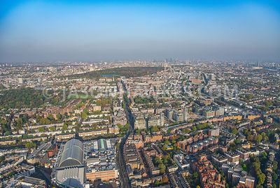 Kensington High St, Kensington, Kensington Gardens, London. Aerial view