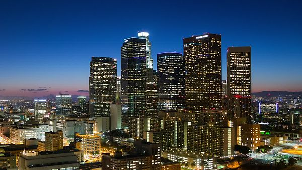 Wide Shot: Crystal Sunset, Neon Horizon, & The Constant Bustle Of Downtown L.A.