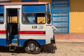 A bus parked on the street in Trinidad, Cuba.