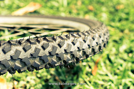 close up of tyre or tire prints of a mountain bike