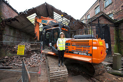 Rutland Mills demolition begins. Five of the former mill buildings will be demolished to make way for a public square which will host events in the summer..Coun Denise Jefferies