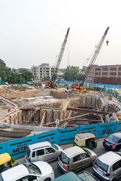India - New Delhi - Construction work for the Delhi Metro at the Nehru Place flyover