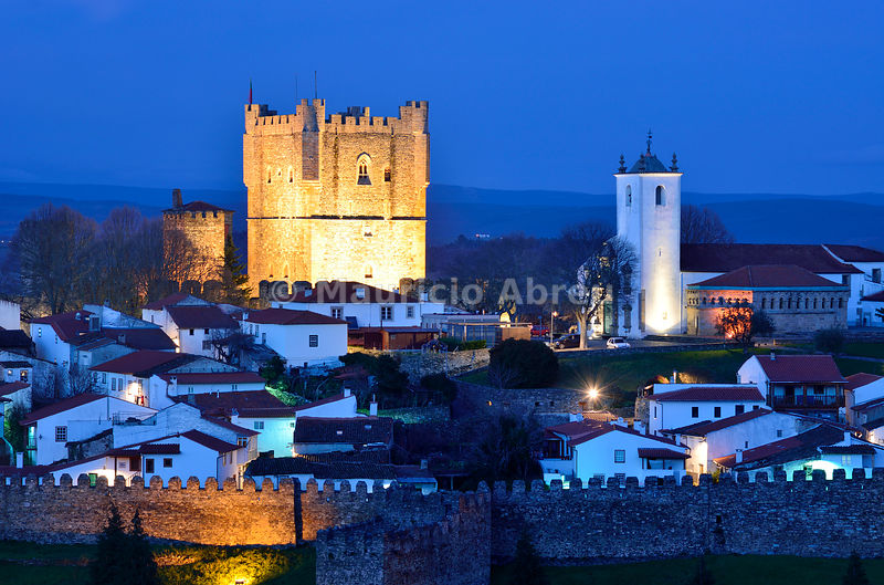 The castle and the 12th century medieval citadel of Bragança at dusk. Trás-os-Montes, Portugal