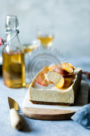 Cheesecake with Elderflower Peaches