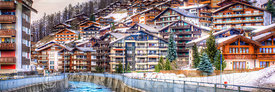 Panorama - Gornera river inside the cosy Zermatt village