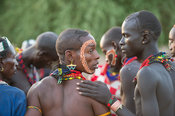 Young Hamer men at a Hamer Bull Jumping Ceremony, Turmi, South Omo Valley, Ethiopia