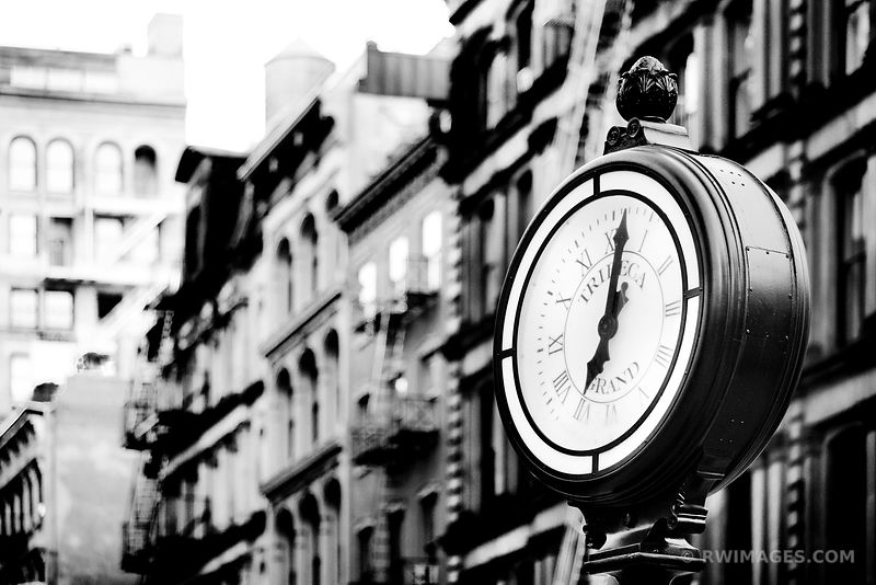 TRIBECA STREET CLOCK MANHATTAN NEW YORK BLACK AND WHITE