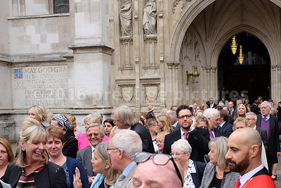 Guests Leaving Westminster Abbey after Sir Terry Wogan's Memorial Service