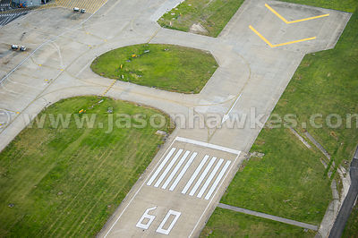 Aerial view of runway at City Airport, London