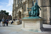Statue of Constantine the Great, outside York Minster, a medieval cathedral in Yorkshire, UK.