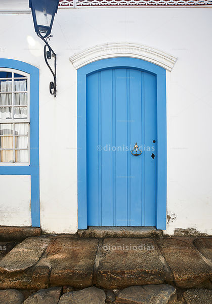 Facade of Colonial House in Paraty with Door in Blue.