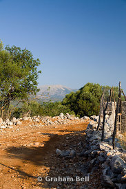 Quiet country footpath through olive groves, Meghas Birnos Hill, Spartochori, Meganisi Island, Lefkas, ionian Islands, Greece.