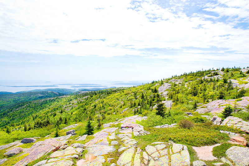 VIEW FROM CADILLAC MOUNTAIN IN SPRING ACADIA NATIONAL PARK MAINE