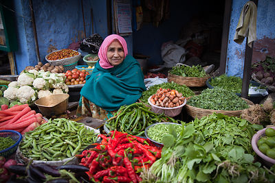Beautiful vegetable market stall in Jodhpur, Rajasthan, India