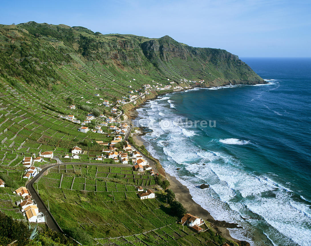 São Lourenço Bay with terraced vineyards by the sea. Santa Maria, Azores islands, Portugal
