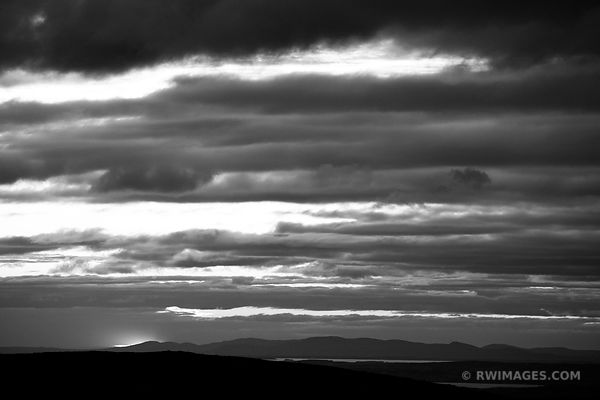 AFTER SUNSET ACADIA NATIONAL PARK MAINE BLACK AND WHITE