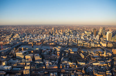 Aerial view of London, Tate Modern and Globe Theare towards 20 Fenchurch Street and City of London financial district.