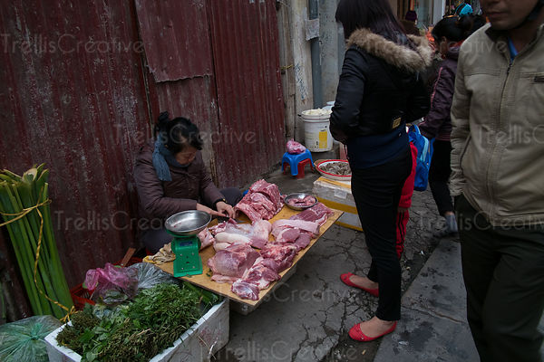Woman buying meat on street at Hanoi, Vietnam