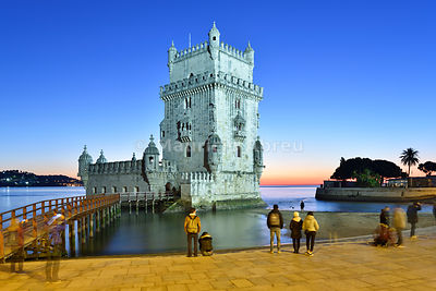Torre de Belém (Belém Tower), in the Tagus river, a UNESCO World Heritage Site built in the 16th century in Portuguese Manueline Style at twilight. It was designed by the architect Francisco de Arruda. Lisbon, Portugal