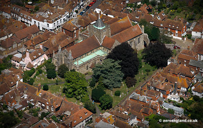 aerial photograph of St Mary's Parish Church Rye East Sussex England UK